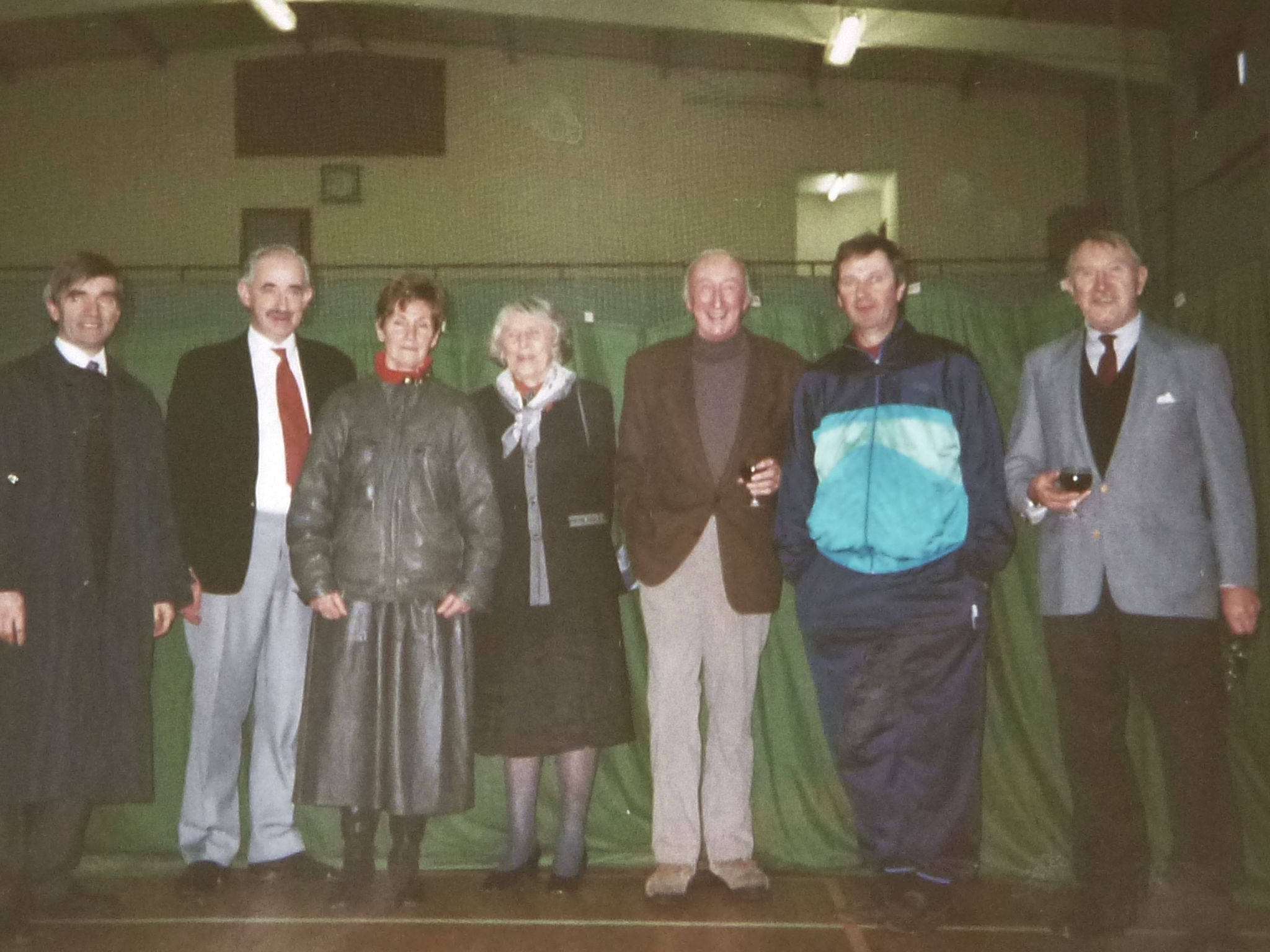 Seven Irish Olympians F. Farrell, M. Ryan, S Duffy, Tommy Dermody, H. Thuillier, J. Bouchier-Hayes, & G. Carpenter.